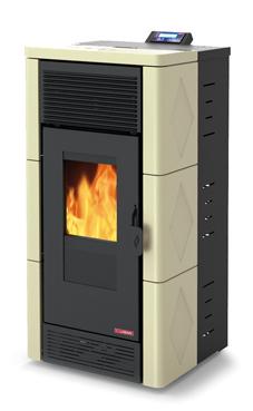 LASIAN STROMBOLI de  3,8 a 12 Kw. calentamiento mediante aire de 12 KW de potencia térmica máxima. Capacidad de calentamiento de 200 m3 (modelos en burdeos y beige)  con mando a distancia.